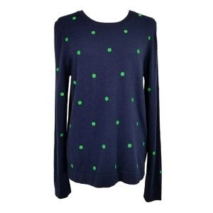 J Crew Polka Dot Wool Blend Crew Neck Sweater  VGC
